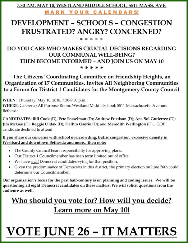 CANDIDATE FORUM NOTICE - JOIN US MAY 10